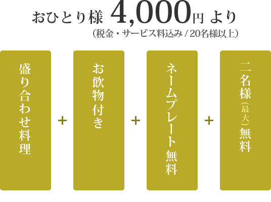 お一人様4000円より(税サ込み)